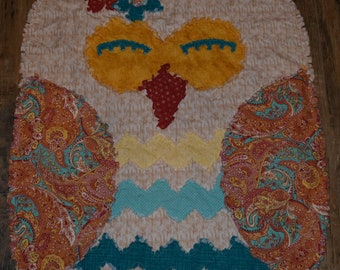 Woodland Owl Rag Quilt in Rust, Turquoise and Yellow