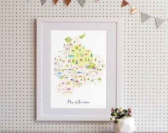 Map of Lancashire Art Print