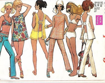 1960's Simplicity 8153 Misses Open Back Top, Hip Hugger Pants And Bathing Suit Sewing Pattern, Size 10, Bust 32 1/2, UNCUT