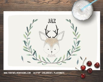 DEER Personalized Placemat for Kids - Children's Placemat, Personalized Kid's Gift, Fast Shipping - leaves, woodland animals