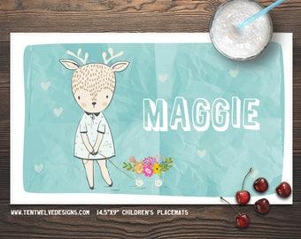 SWEET DEER Personalized Placemat for Kids - Children's Placemat, Personalized Kid's Gift, Fast Shipping - flowers, deer, hearts, sweet