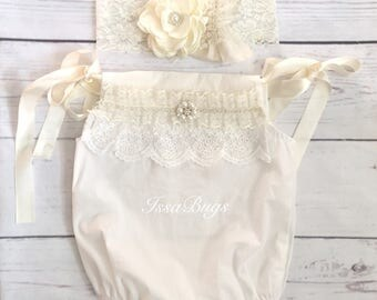 Baby girl outfit-baby girl romper-baby romper-bubble romper-newborn girl photo outfit-newborn lace romper-vintage couture baby romper