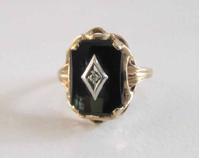 Black Onyx and Diamond Ring, Black Onyx Ring, Vintage Black Onyx Ring, Vintage Black Onyx and Diamond Ring, Right Hand Ring, Vintage Ring