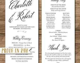 Wedding Program, Ceremony Program - PRINTABLE files - rustic wedding, garden wedding, simple and elegant, calligraphy, brush - Charlotte