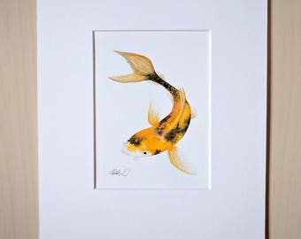 Koi Fish, Matted Original Watercolor Painting, 8 x 10 with Mat Board, Ready to Frame