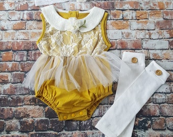 Mustard Boho Chic Lace Romper w Headband & Leg Warmers. Baby Girl Coming Home Outfit, 1st Birthday, Fall Set, Baby Shower Gift, Flower Girl