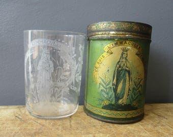 Antique french religious engraved glass and tin box LOURDES, 1900s, 1900, Vintage, Souvenir, Verre gravé et boite, France, Collectible