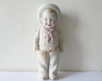 Antique bisque doll boy, 1930s, White porcelain cow-boy, Vintage jointed figurine, Mignonette, Poupée porcelaine articulée