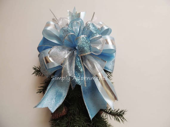 Light blue Christmas Wreath Bow Silver Blue Tree Topper bow Blue silver Christmas lantern Swag Bow Blue Silver Baby Shower Party Gift Bow