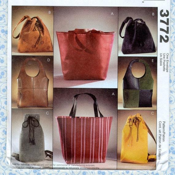 Mccalls 3772 Lined Bags Sewing Patterns Handbag Purse Tote