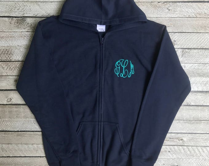 Monogrammed Hoodies, Monogrammed Full Zip Hoodie, Monogrammed Sweatshirt Jacket, Gifts for Her, Gifts for Him, Gifts under 30