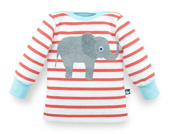 newborn baby clothes, organic baby shirt elephant, newborn baby shirt, red white striped baby jersey shirt, 100% organic cotton