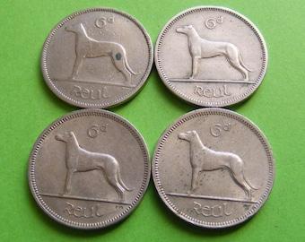 Original 1942 1961 1967 1968 Lucky Irish Wedding Coins Ireland Authentic Vintage Celtic Harp And Wolfhound Dog