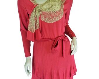 Vintage 1920s Silk Dress // Lace // Rose Pink // S/XS // 20s Silk Dress