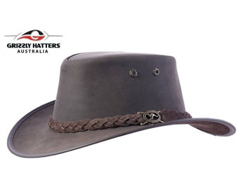 KANGAROO LEATHER Australian Outback Squashy Bush Hat - Strong and Soft Leather Hat - Comfortable Natural Leather - Handcrafted in Australia