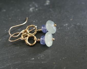 Aquamarine and Iolite dangle earrings, dainty drop earrings, delicate everyday earrings, Gift for her by mollymoojewels