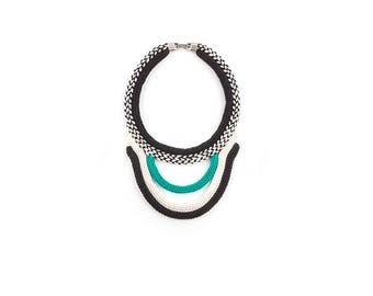 TAHA necklace/ emerald green / knitted plastron necklace