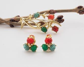 Vintage 1960s Carved Scarab Jewelry Set, Egyptian Scarab Jewelry, Jewelry Set, Demi Parure, Vintage Jewelry, Vintage Brooch