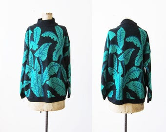 90s Sweater / Plant Sweater / Banana Leaf / Knit Sweater / Mockneck Pullover / Novelty Sweater / Ugly Sweater / 90s Clothing / Esprit