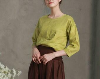 versatile linen shirt with three quarter sleeves, lime green linen blouse(custom color), draped flowy tops, linen top,linen tunic, oversize