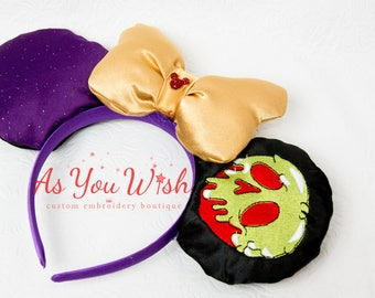 Custom made Evil Villian queen Princess Snow poison apple mouse ears