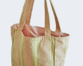 Vintage preppy bag/ tote bag/ pink green cream pastel striped tote/ sateen