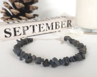 Sapphire Bracelet, Rough Sapphire, Sterling Silver, September Birthstone, Gift for Her, Gift for Him, Gifts, Raw Sapphire, Anniversary Gift