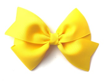 4 inch yellow hair bow - yellow bow, 4 inch bows, pinwheel bows, girls hair bows, yellow hair bows, toddler bows, girls bows, hair clips