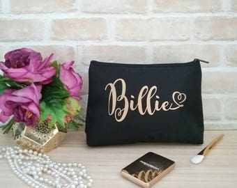 Personalised Makeup bag, bridesmaid gifts, personalised cosmetic bag, makeup purse, personalised bag, bridal party gift, gift for her