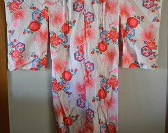 Girl's colorful cotton summer yukata, vintage yukata robe, kimono style gown