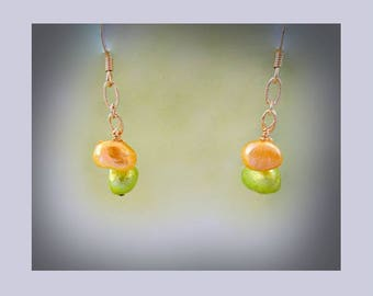 Yellow and Green Freshwater Pearl Earrings Hypoallergenic Earrings Nickel Free Earrings Pearl Dangle Earrings Pearl Drop Earrings