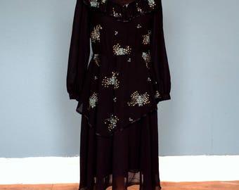 Vintage 80's French Midi Dress UK Size 10
