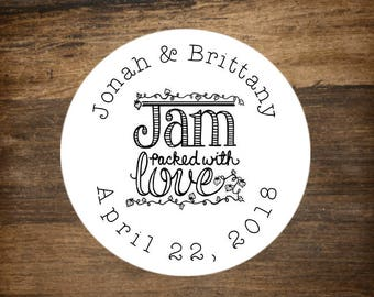 "Wedding stickers, set of 30 personalized favor labels. 1.5"" round stickers. Bridal shower or party favor stickers. Jam Packed with Love."