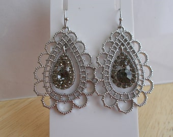 Silver Tone Teardrop  Earrings with Gray Crystal and Rhinestone Dangles