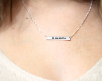Sterling Silver Bar Name Necklace. Personalized Friend Gift. Engraved Custom name Bar Necklace. Custom Bar Gold, Rose Name plate Necklace