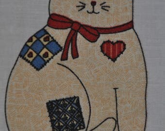 Clearance! - Adorable Cat - Fabric Panel - Approx. 16""