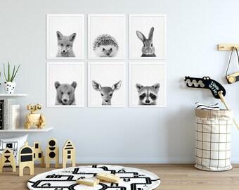Woodland Nursery Decor, Baby Animals Print Set of 6, Bunny Fox Raccoon Deer, Black White Nursery Kids Baby Room Decor, Modern Printable Art