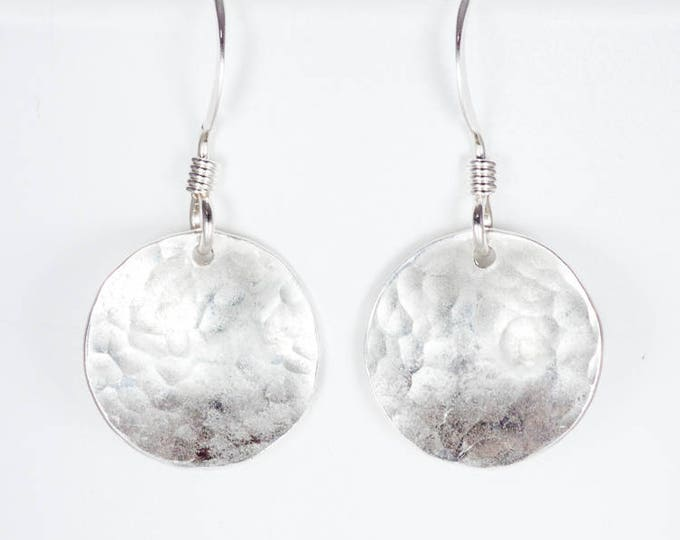1/2 Inch Domed Convex Earrings - Sterling Silver Hammered Discs
