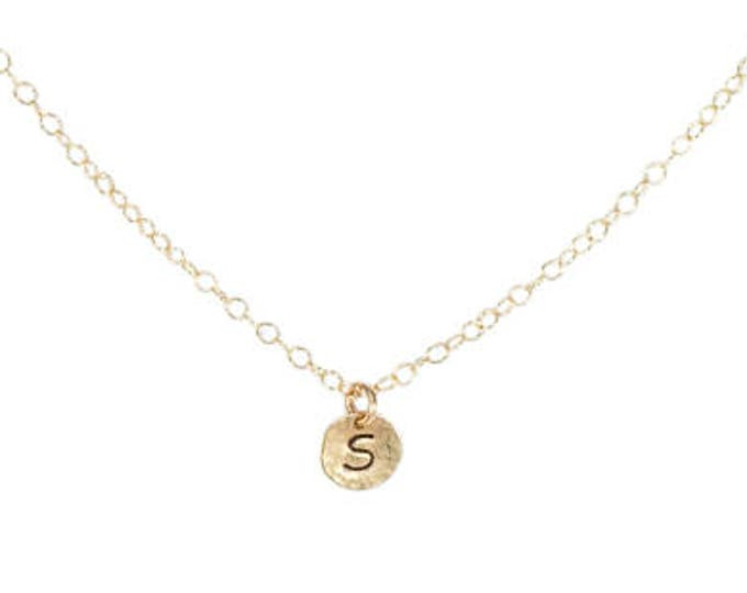 Initial Charm Necklace - 1/4 inch - Gold or Silver