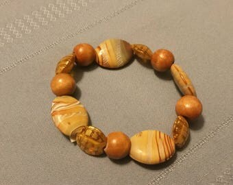 Wooden Stone Stretch Bracelet