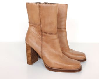 Chunky Heel 90's Bongo Patchwork Camel Leather Boots // Women's size 6