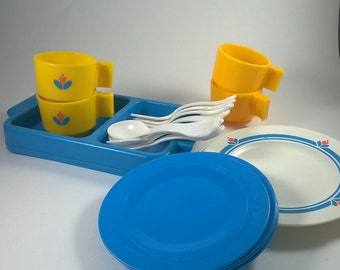 Fisher Price Dishes - Plates, Cups, Utensils, Jug, Drying Rack, Salt and Pepper - Kitchen   - 1970's Fisher Price