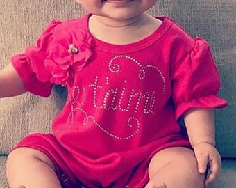 Je Taime Bubble Romper Baby Girl Romper Set Hot Pink Infant One Piece Set with Rhinestone Applique and Matching Headband