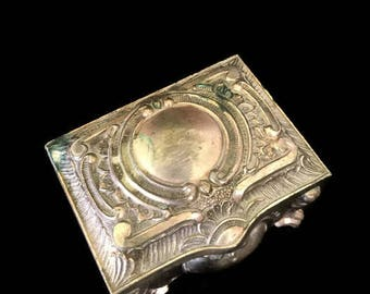 Little Vintage Silver Trinket Box, Stash Box, Repousse Decorative Jewelry Box Treasure chest
