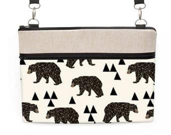 Bear Laptop Bag, Woodland iPad Pro Crossbody, Geometric Bear Laptop Bag, Modern Dell Laptop Tote, Surface Tote - bears triangles in cream