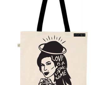 Amy Winehouse Inspired Illustration Earth Positive Tote Bag