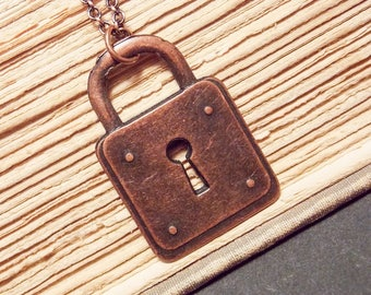 Copper Padlock Necklace