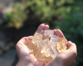 Golden Optical Calcite, Small Cube, Golden Calcite, Intrinsic Journeys Crystals