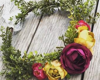 Flower Crown, Purple, Mustard, Flower girl crown, fall wedding, floral flower girl head piece, wedding flower crown, baby flower crown,