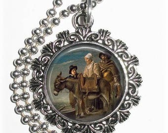 Milkmaid's Family  Art Pendant, Family with a Donkey Resin Art Pendant, Louis Le Nain Art, Photo Pendant
